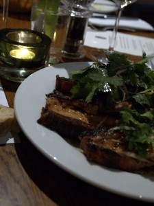 Char-grilled old spot belly, chilli, lime, coriander