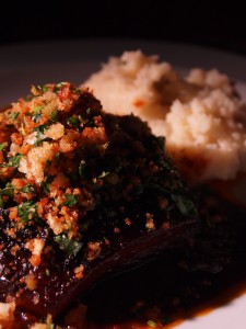 Ox cheek with gremolata crumbs