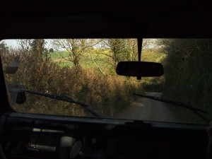 Narrow lanes, ancient Land Rover