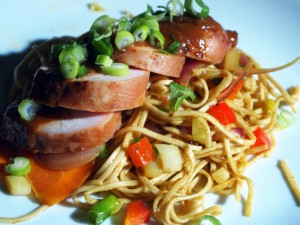 Singapore noodles with miso chicken