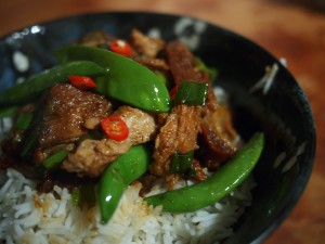 Pork belly stir fry