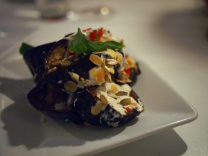 Roast aubergine with tahini and yoghurt sauce