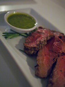 Char-grilled fillet of English beef with sweet coriander-mustard sauce