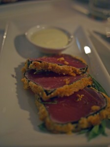 Yellowfin tuna wrapped in nori and panko with wasabi cream