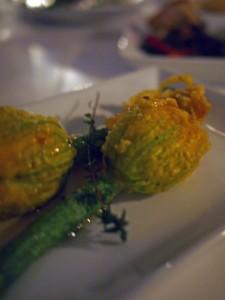 Stuffed zucchini blossom