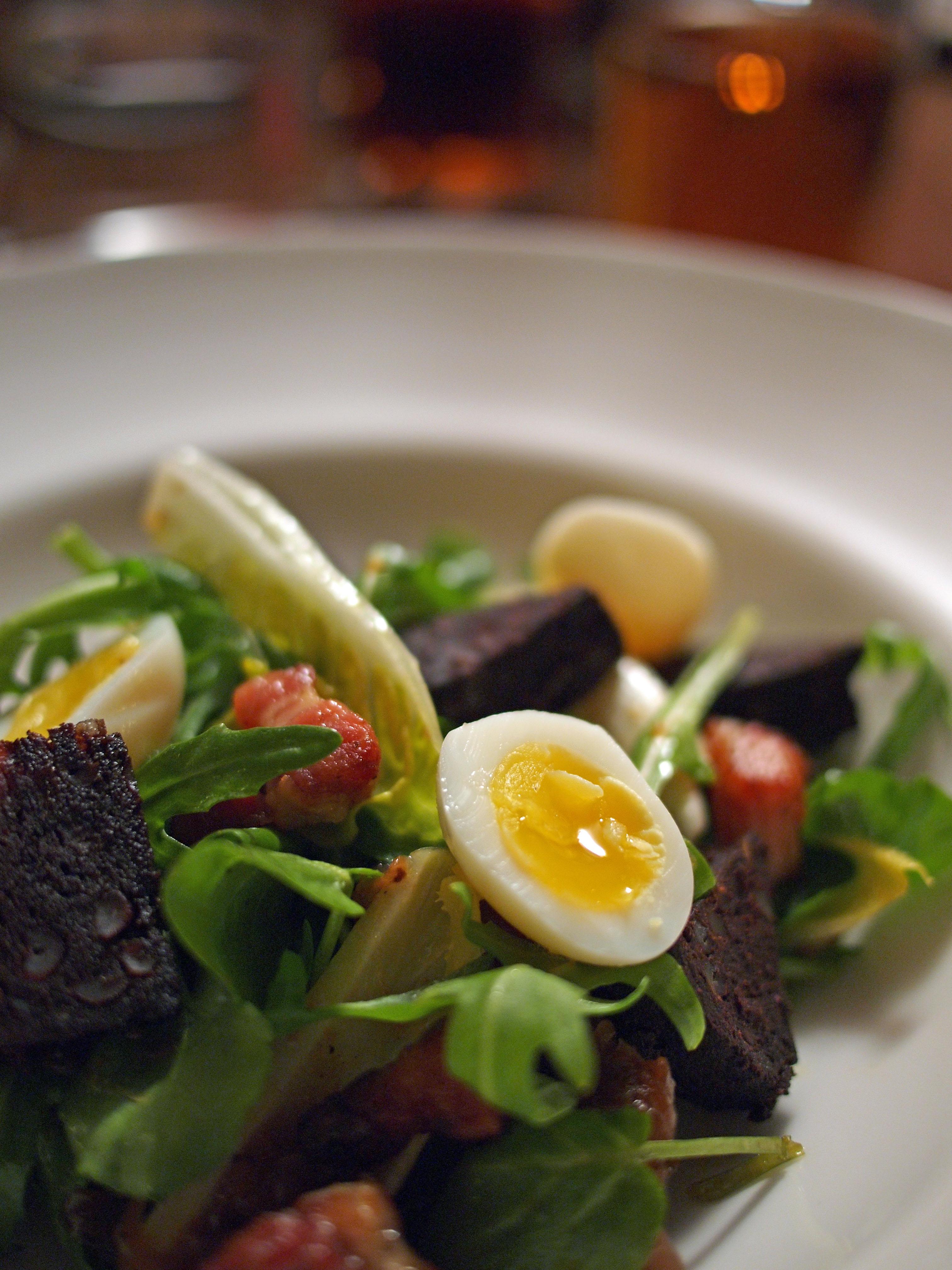 Warm salad of black pudding, smoked bacon, shallot marmalade and soft ...