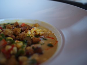 Andouille and fresh corn chowder