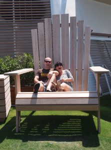 Dr W and yours truly in a gargantu-chair on the lawn deck 